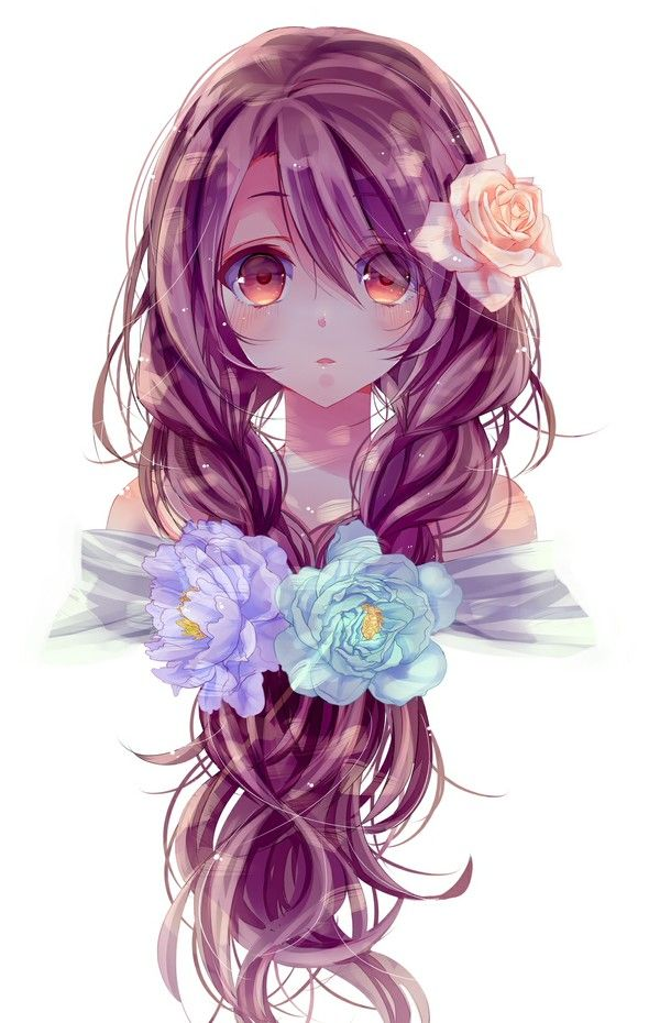 ~♥~ A pretty purple haired girl with lots of flowers. ~♥~