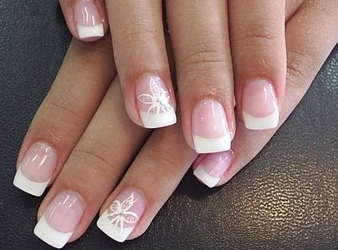 french manicure with flower design