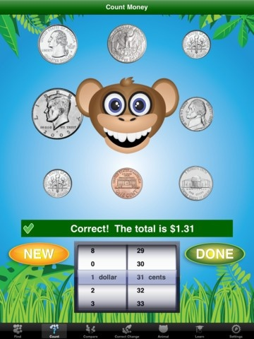 JUNGLE COINS is a great app when introducing money with the younger grades. Focusing only on coins, not notes, practice adding coins, identifying coins, calculating change and comparing amounts. Everything is in Australian currency (and other options) and the app is super-easy to use and very customisable.