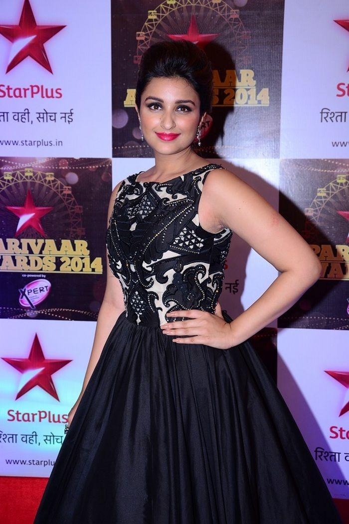 Parineeti Chopra wore a gorgeous ball gown at the STAR Parivaar Awards 2014.