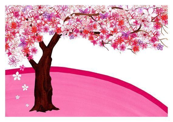 Cherry Blossom Tree Signed Art Print Sakura Spring Flowers Pink Japanese Ga Art Blossom Cherry Flo Blossom Trees Cherry Blossom Tree Japanese Garden