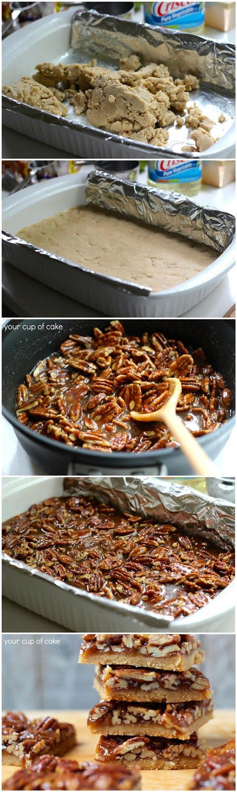 Pecan Pie Bars. Crust: 1 C. butter 2/3 C. brown sugar 2 2/3 C. flour 1/2 tsp. salt 1/4 tsp. cinnamon Pecan Topping: 1/2 C, butter 1 C. brown sugar 1/3 C. honey 2 Tbsp. heavy cream 2 1/2 C. pecans, roughly chopped 2 tsp. vanilla extract