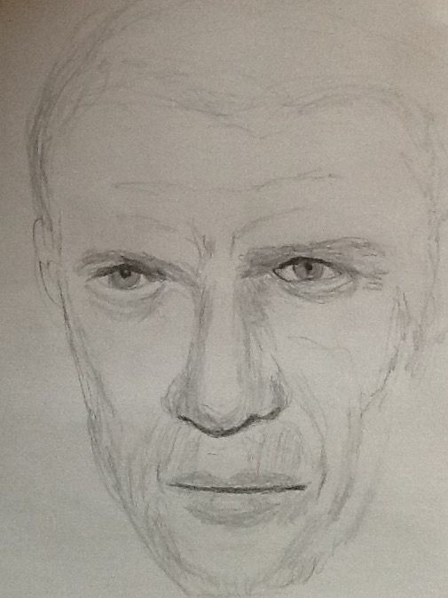 My sketch of Steve McQueen, drawn during dialysis treatment this morning
