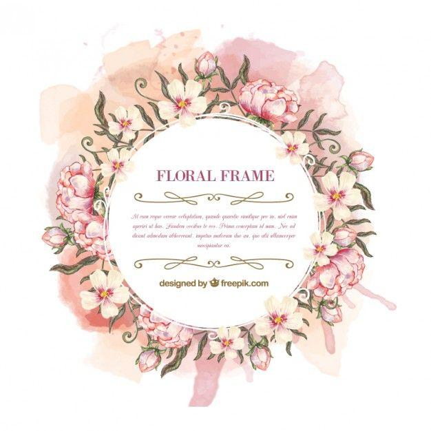 Frame da aguarela coroa de flores Vetor grátis