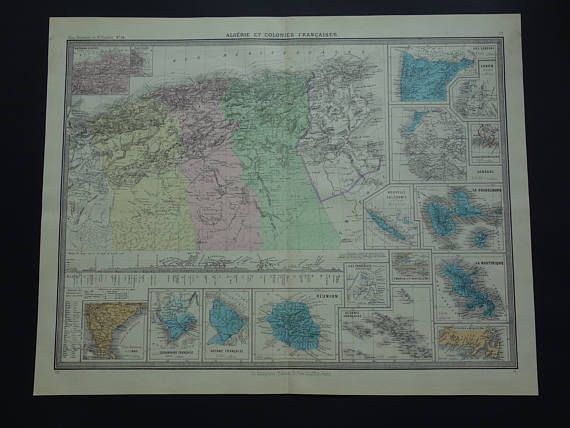 ALGERIA map LARGE 140 years old antique print Algeria and