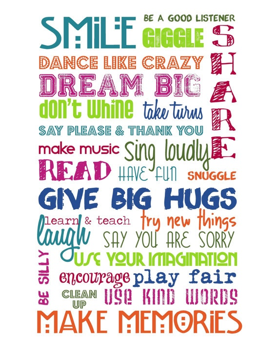 Playroom Rules MultiColor Brights on White  by sweetleighmama, $22.00