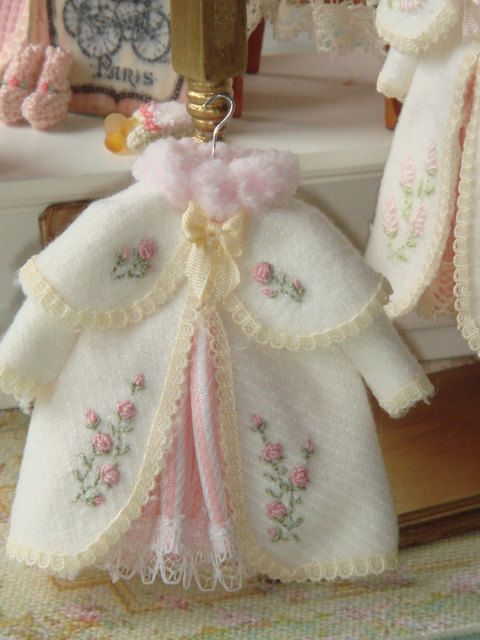 Dollhouse Miniature Girl dress and felt coat on top. Hand Embroided. Ready to hang. ADORABLE!