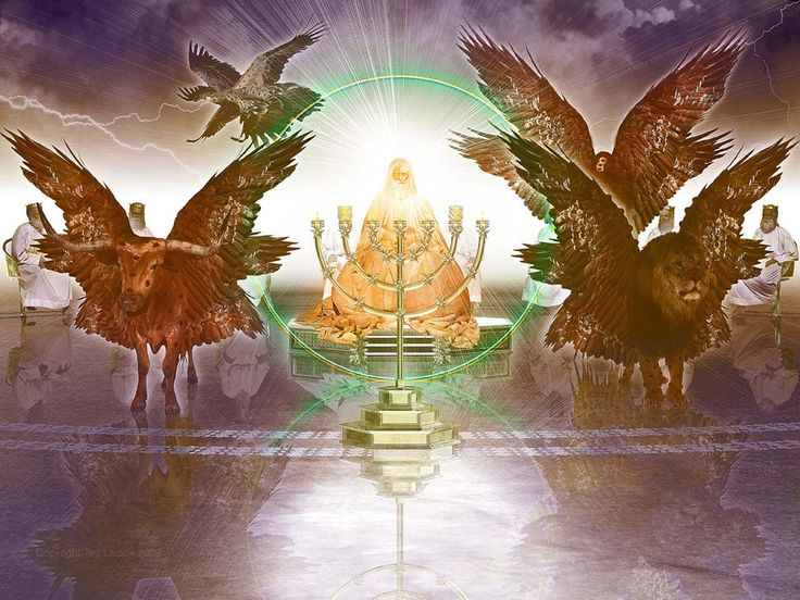 God's Throne - 24 Elders - 4 Living Creatures with eyes - Lamb - 7 Spirits - 7 Lamps - 7 Torches - Revelation 4 & 5 - 7 Seals of Revelation