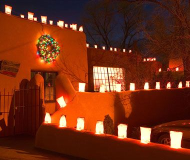 Best Places to Spend Christmas: Taos, NM.    Why Go: This remote village on a high desert plain is especially magical at Christmas, thanks to its rich mix of cultural traditions. Not to miss: historic Ledoux Street all lit up with luminarias (paper lanterns); the ceremonial reenactments of Mary and Joseph's search for shelter, called posadas; and the dramatic American Indian Christmas Eve celebration that takes over the main square in Taos Pueblo. Plus, you can ski all day long on Christmas Day at Taos Ski Resort, 18 miles away.    Where to Stay: Near the town square, El Monte Sagrado Living Resort and Spa features objects from around the world in its spare, elegant rooms. Book a room with a fireplace to up the cozy factor. Doubles from $309.    Holiday Dinner: On twinkling Ledoux Street, the seven-table hideaway Byzantium will offer its new winter menu—with dishes like shrimp ceviche and grilled pork scaloppine with apple, cabbage, and mustard-seed compote—beginning at 5 p.m. on Christmas Day. Reservations are a must.    Stocking Stuffers: For locally produced, mostly silver jewelry, including traditional American Indian styles, head to Mesa's Edge, just off the plaza. Or, stop by Kimosabe for cowboy and American Indian and Spanish colonial folk art collectibles.: Christmas Parties, Gifts Bags, Holidays Time, Christmas Eve, Beautiful Southwest, American Southwest, Beautiful Things, New Mexico, Holidays Lights