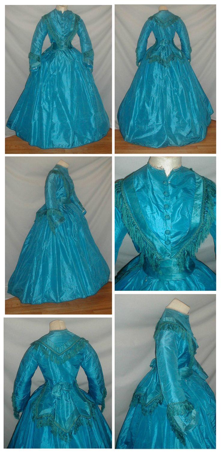 1860s blue silk two piece dress. Ebay: fiddybee