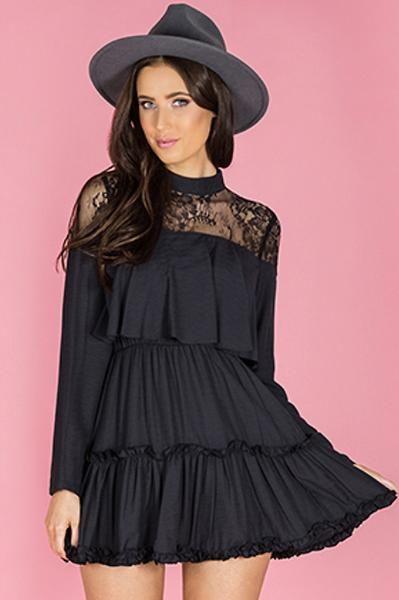Dynasty Ruffle Dress - Black    Share this Pin!