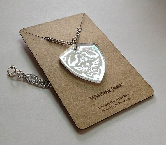 Zelda Mirrored Acrylic Hyrule Shield Pendant Necklace by GameVetz