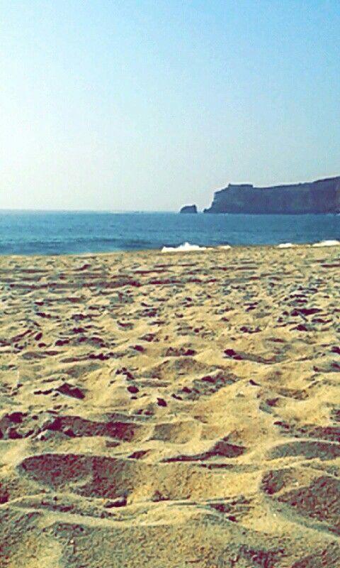 Op het strand in Nazaré.