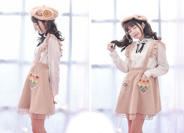 Beige embroidered rainbow brace skirt