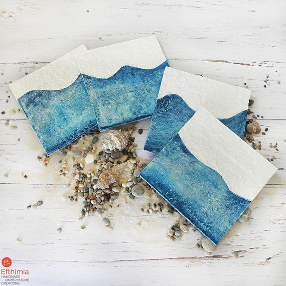 Paper Coasters Summer Gift Waves Drink Coasters Paper Mache