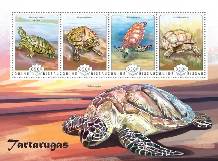 Post stamp Guinea-Bissau GB 14606 aTurtles (Trachemys scripta elegans, {…}, Geochelone sulcata)