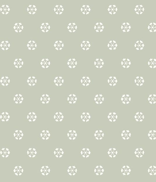 Georgian Button Wallpaper Pale sage green wallpaper with small medallions in white