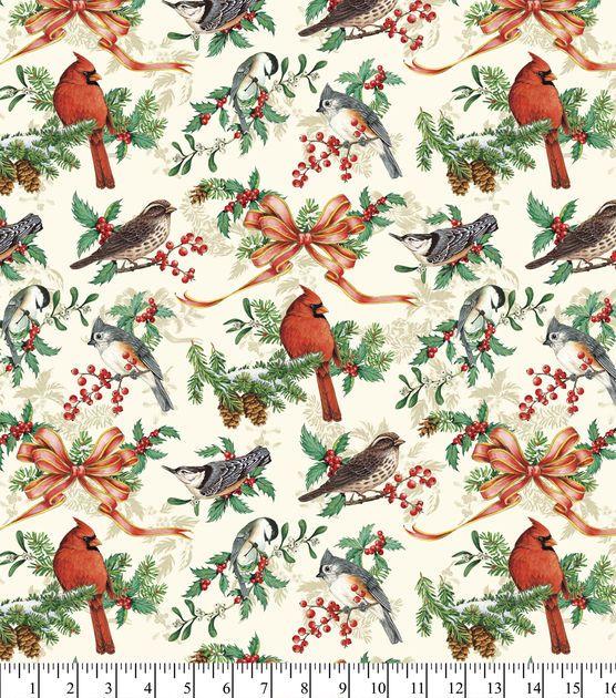 Christmas Cotton Fabric-Christmas Birds And Bows