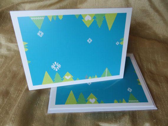 Christmas Card  4x6  Blue  White Snow Border by LoveRockResidue, $3.50