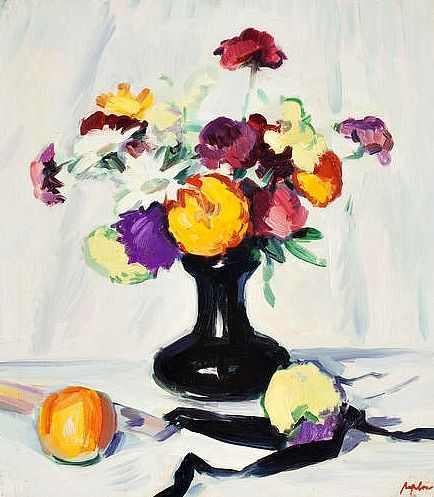 Samuel Peploe - Still Life 1920 - very spaced out, bright and clean colours, not very sharp lines, foreground used for placement of fruit, tone emphasises how 3D the painting is meant to be