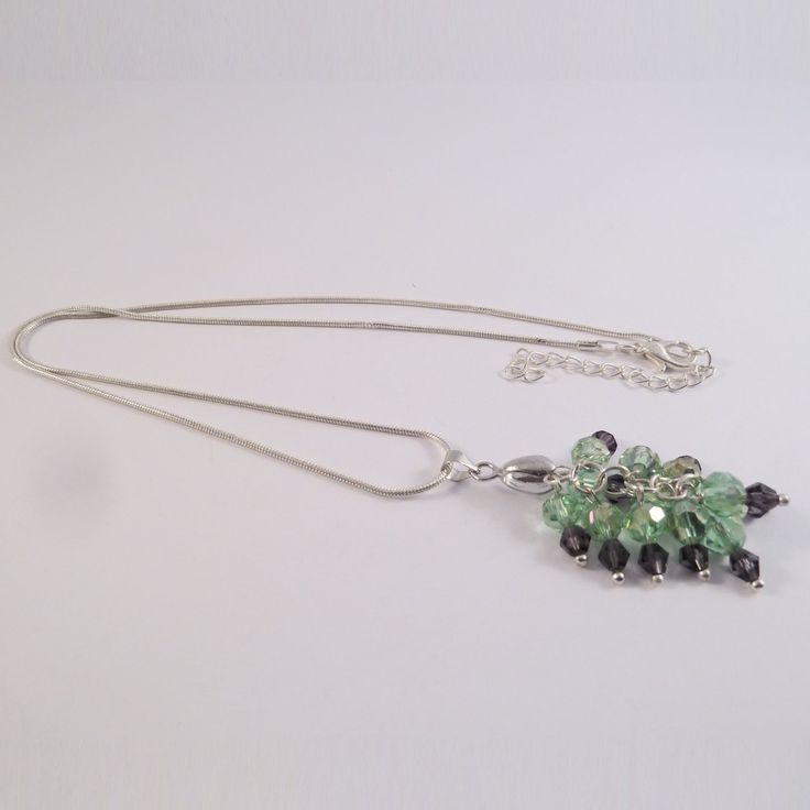 Swarovski element cluster necklace with green and purple beads
