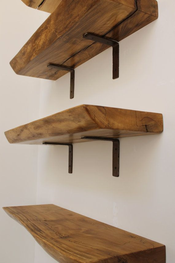 Floating Shelf Live edge shelf wood slab for open shelving. Tree section recovered from a local horse farm after the swollen river downed the