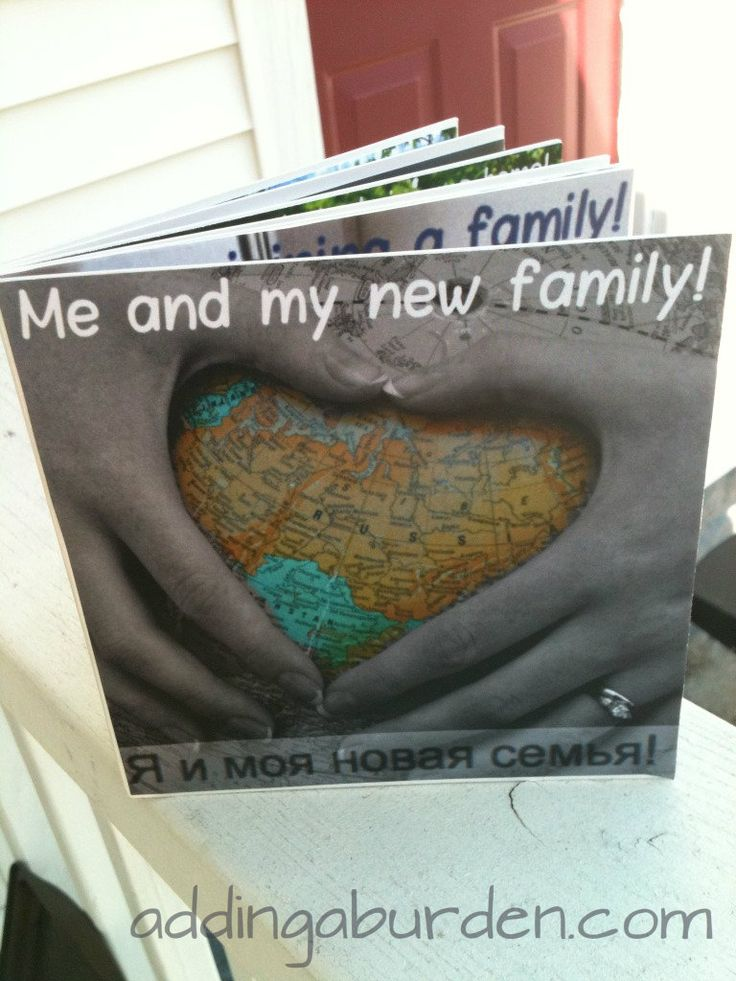 DIY adoption story board book for toddler adoption.  Pictures and captions to help familiarize your child with your family!