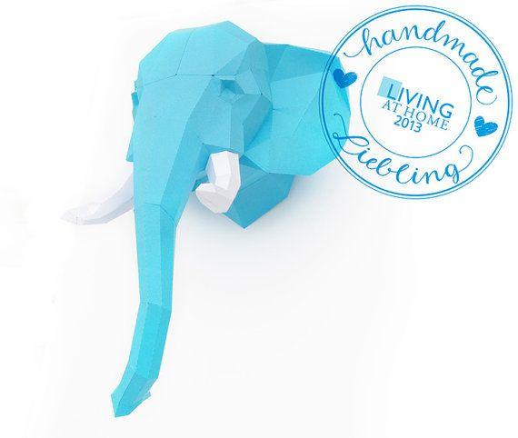 "Paper Trophy Elephant, ""The Big Five"", Paper head, hunt trophy, 3D Puzzle diy"