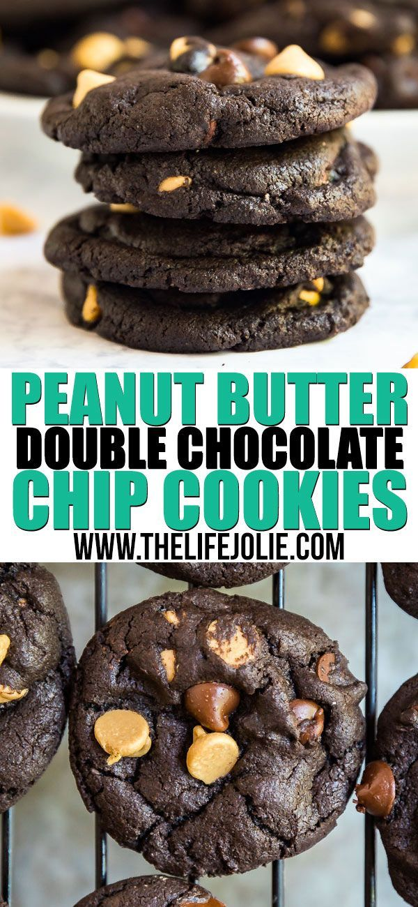 Peanut Butter Double Chocolate Chip Cookies