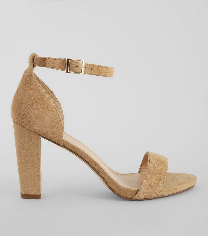 Sandales camel à talons et brides de cheville | New Look