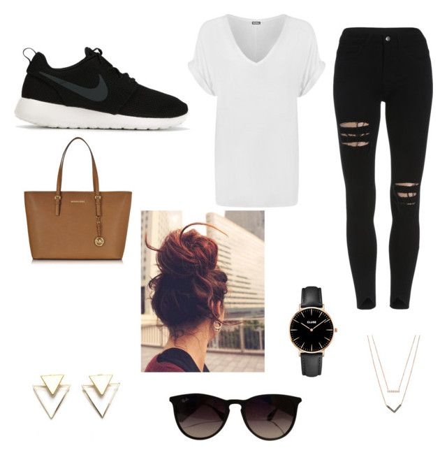"""Casual Sundays"" by libbyellmers on Polyvore featuring WearAll, NIKE, Ray-Ban, CLUSE and Michael Kors"