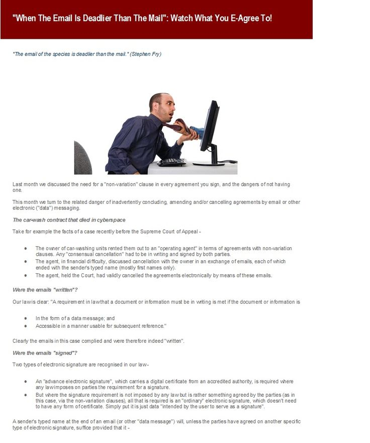 A very interesting read about the dangers of E-greeing to things over the internet - an extract from one of our older newsletters to subscribe to our newsletters visit our website @ www.talbotlaw.co.za