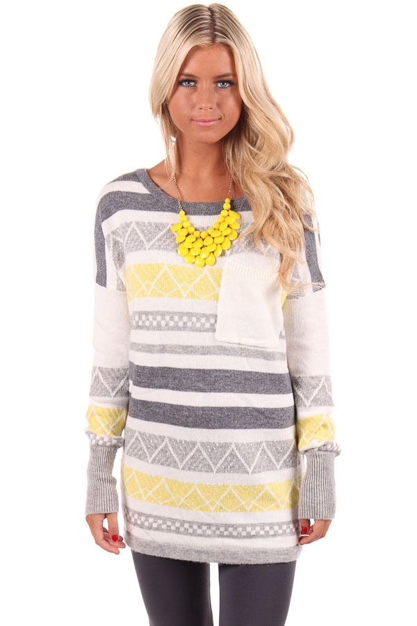 Lime Lush Boutique - Yellow and Grey Striped Knit Design Sweater, $79.99 (http://www.limelush.com/yellow-and-grey-striped-knit-design-sweater/)