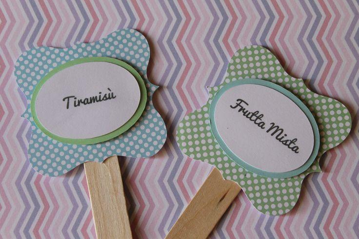 Palette segnagusto confettata Matrimonio attesimo Comunione Cresima Compleanno verde/ azzurro pois di PickaPack su Etsy