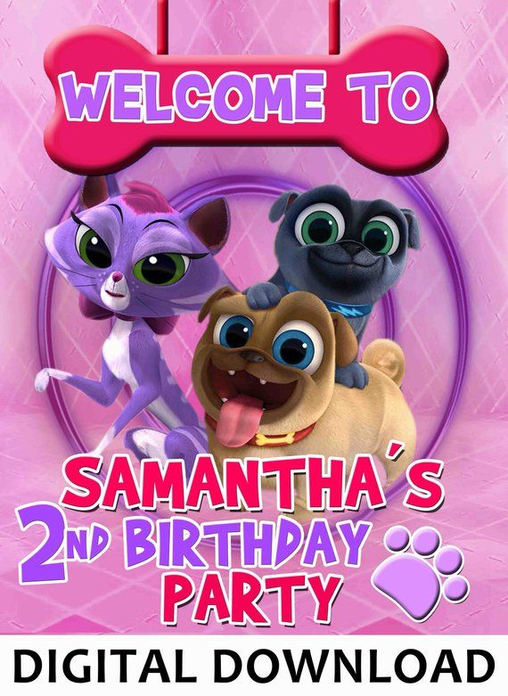 9ad07e90aeba Puppy dog pals welcome sign- backdrop - happy birthday girl - Digital file  YOU PRINT