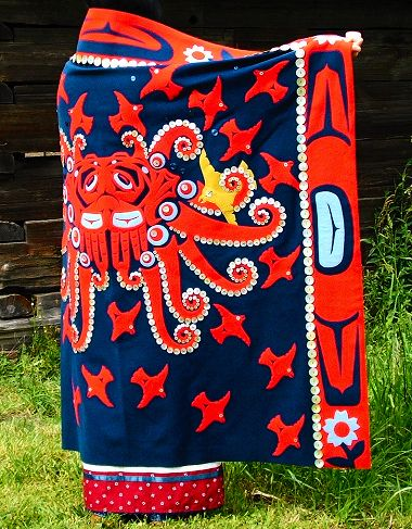 (c) C.P. Taha| Octopus Woman & Crow, a button blanket