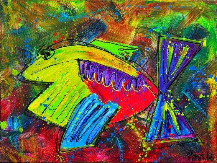 Dit is een: Kleurrijk Cobra schilderij op doek, titel: 'Als een vis in het water' kunstwerk vervaardigd door: Hasto