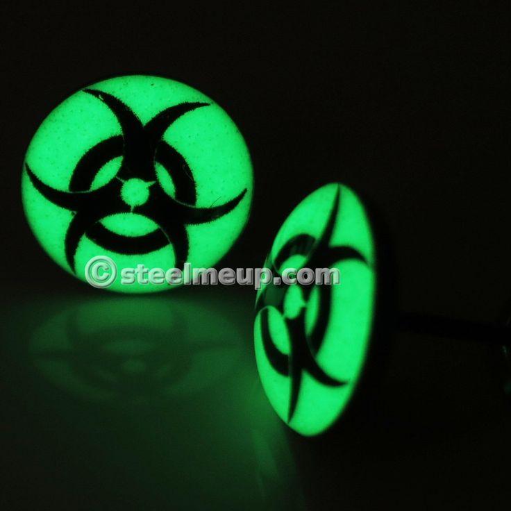 Pair Stainless Steel Glow In The Dark Biohazard Sign Post Stud Earrings