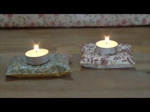 DIY plaster tea-light holders (pillow)/Φτιάχνω γύψινα κηροπήγια για ρεσώ...