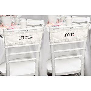 Mr & Mrs Wedding Satin and Lace Chair Sashes