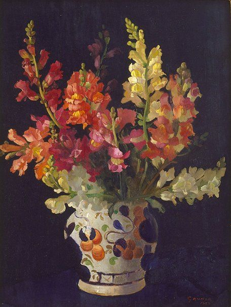 "Elioth Gruner   New Zealand, Australia  b.16 Dec 1882  d. 17 Oct 1939  Snapdragons 1927 oil on wood 43.2 x 32.7cm Signed  lr.. corner, red oil ""GRUNER/1927"" Exhibition History Travelling Art Exhibition 1953. Still life and flower paintings by Australian artists: Bega County Council Exhibition Hall, Bega 19 May 1953–02 Jun 1953 Art Gallery of NSW Collection 