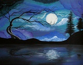 Huge Original Landscape Painting- 20 X 30 in. Hallelujah Please see close Ups - angiec tree haunting surreal moon painting