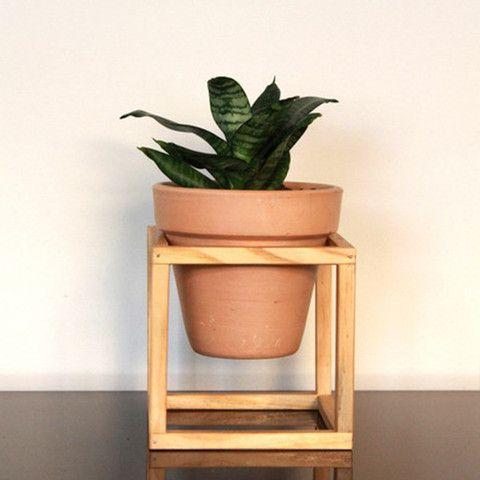 Suporte de madeira + vaso de cerâmica Nº3