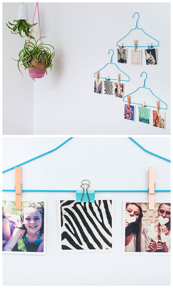 DIY colored clothes hanger photo display