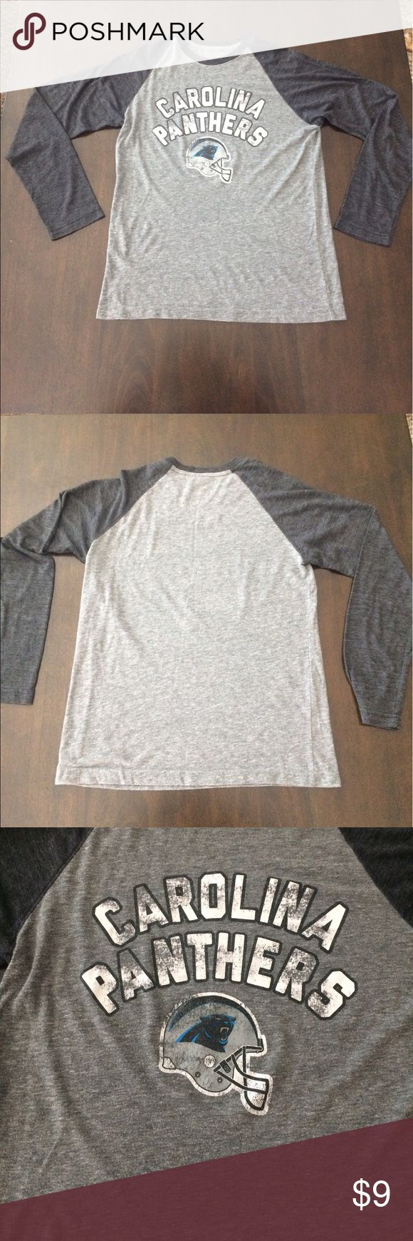 Gray NFL Carolina Panthers Long Sleeve Tee Official NFL gear. Pre-Owned Condition. Tops Tees - Long Sleeve