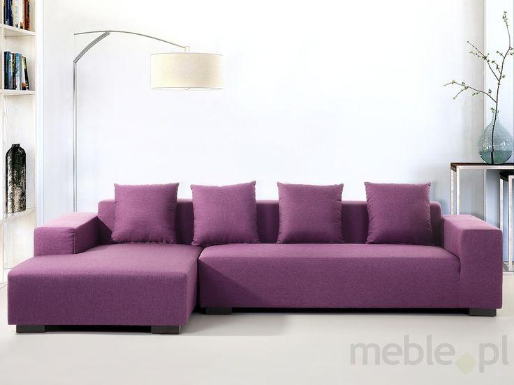 Sofa fioletowa - sofa narozna P - tapicerowana - LUNGO