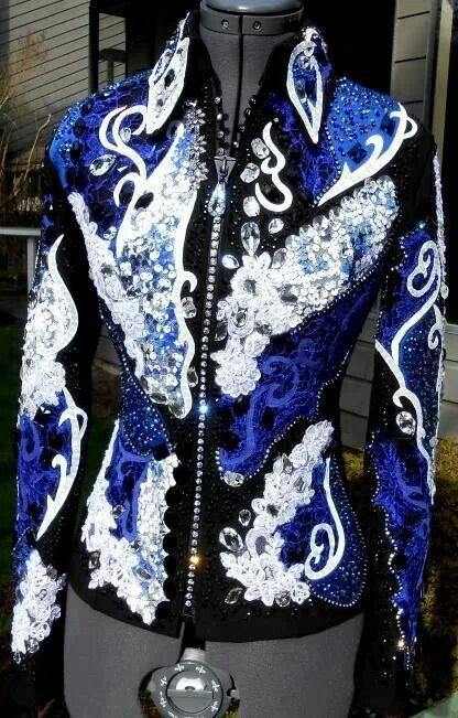 Black, blue, and white show jacket.