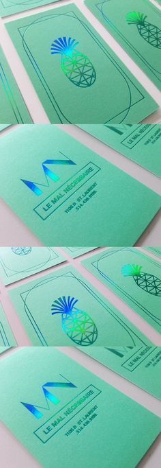 Tropical Themed Holographic Foil Business Cards For A Bar