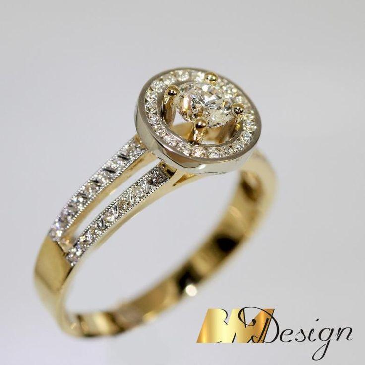 Pierścionek z diamentami, w niepowtarzalnej oprawie. BM Design Pierścionki z diamentami biżuteria na zamówienie autorskie wzory