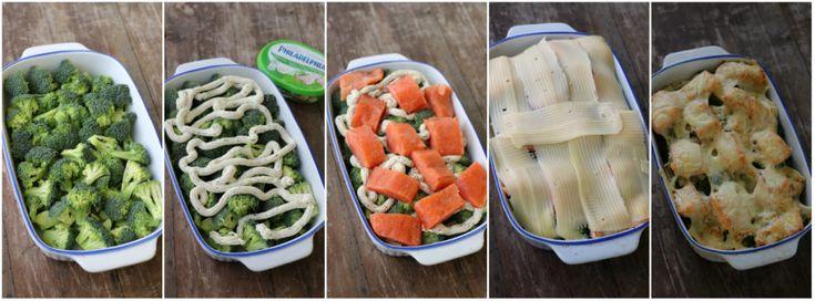Laks- og brokkoligrateng - lindastuhaug. *2 brokkoli *4 laks filet *1 boks philadelphia ost/mjukost vitløk&urter  *revet eller skiva ost *salt og pepper • Tilbehør søtpotetmos: *4 mellom søtpoteter *salt & pepper (smør og melk) • Sett ovnen på 180^. Del søtpotetene i mindre biter og sett på kok til er møre.